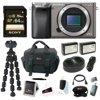"""Sony a6000 w/ Camera Gadget Bag & 64GB SDHC Accessory Bundle - Graphite """"Test the limits of your creativity with the premium mirror less DSLR that's focused on speed. Every artistic shot you take-from fast-action to candid-benefits from 24.3MP detail and the world's fastest auto focus. For capturing crucial moments that go by in a blink, the A6000 can shoot 11 photos in one second. It's compact and easy to use, too. Two quick-access dials let you change settings on the fly. Very intuitive. Bundle Includes: • Sony Alpha a6000 Mirrorless Digital Camera Body Only (Graphite) • Sony 64GB 70MB/s Class 10 SDXC Memory Card • Wasabi Power Battery 2-Pack and Dual Charger for Sony NP-FW50 Batteries • Focus Flexible 10"""""""" Spider Tripod • Focus Camera Digital SLR Camera Bag Bundle"""""""