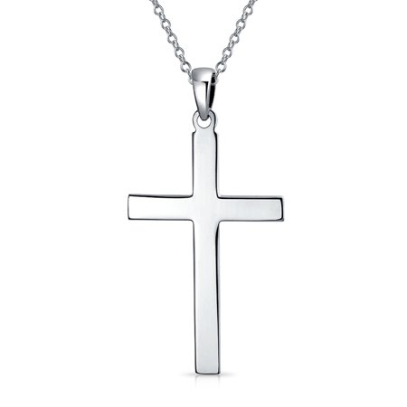 Religious Plain Simple Flat Cross Pendant Necklace For Men For Women 925 Sterling Silver With Chain