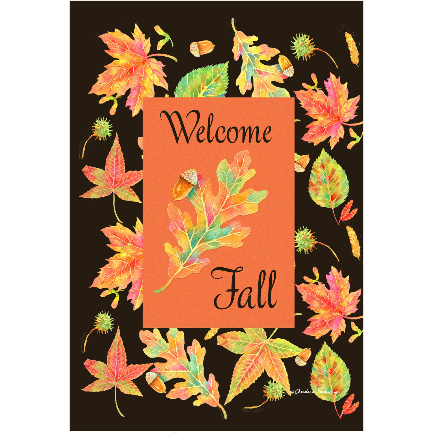 Colorful Garden Welcome Fall Leaves Garden Flag