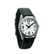 Low Vision Mens Watch with Leather Band and White Dial