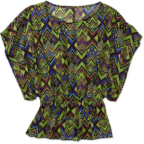 Susie Rose Collection Women's Smocked Woven Peasant Top