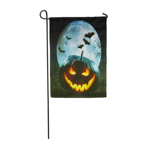 Image of KDAGR Autumn Helloween Pumpkin Party Celebration Bat Black Candle Carved Garden Flag Decorative Flag House Banner 12x18 inch