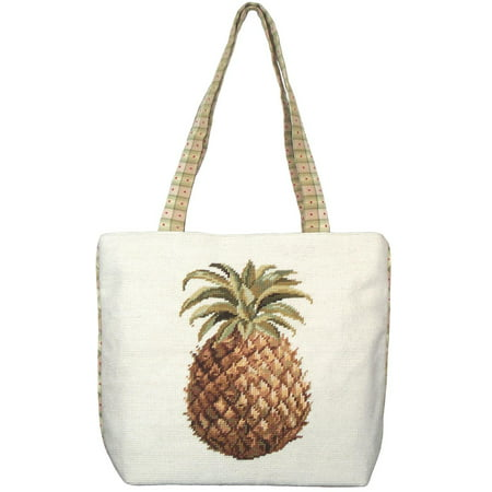 8' Wool Purse - Tote Bag Pineapple Wool Yarns New Hand-Embroidered Needlepoint Embroidere JK-235