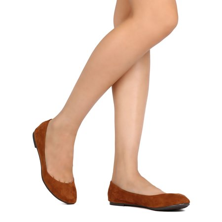 Breckelles Abby-31 Tan Micro Suede Round Toe Slip-On Casual Ballet Flats (10)