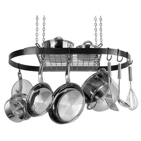 Range Kleen CW6000 Black Enameled Steel Oval Hanging Pot - Two Light Pot Rack
