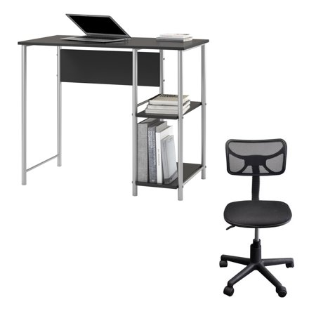 Desk and Chair Set: Mainstays basic metal student desk, multiple colors and Urban shop swivel mesh chair, multiple colors
