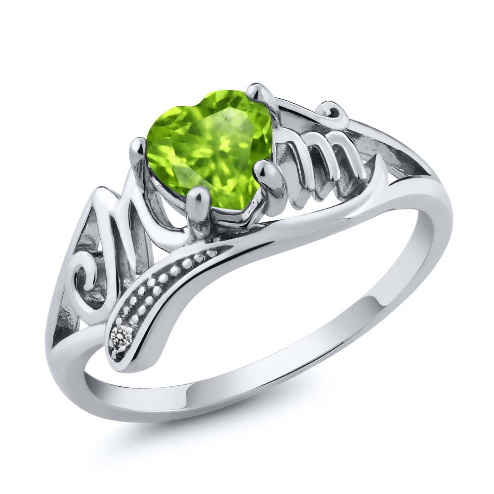 0.52 Ct Heart Shape Green Peridot White Diamond 925 Sterling Silver Mom Ring by
