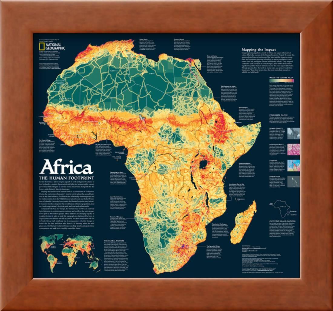 2005 Africa, the Human Footprint Map Framed Art Print Wall Art By ...