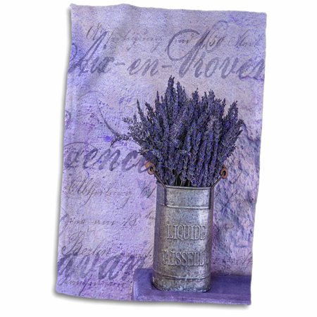 3dRose Lavender Bouquet In Vintage Style Tin Vase - Towel, 15 by 22-inch - Tin Vase