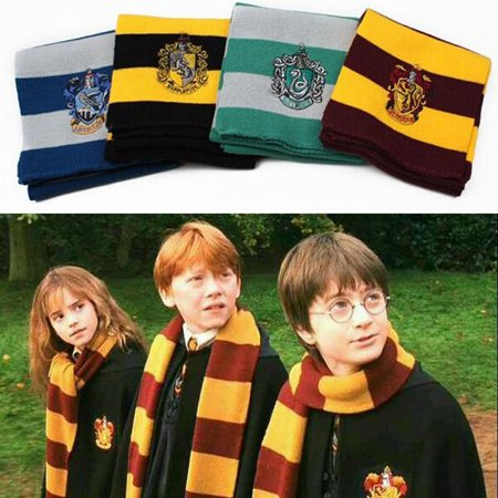 17CM*150CM New Fashion 4 Color College scarf Harry Potter Gryffindor Series scarf With Badge Personality Cosplay Knit Scarves (Silk Scarves For Sex)