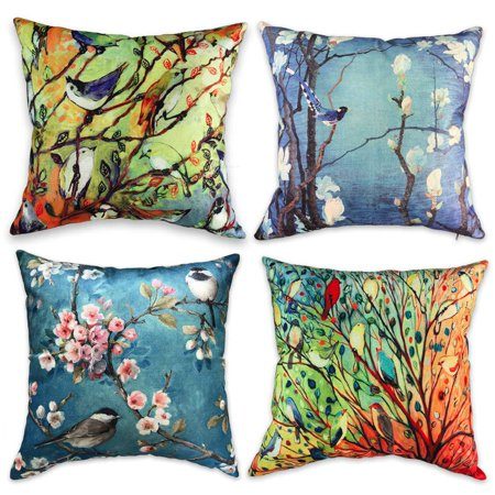 SUFAM Set of 4 Pillow Cases Oil Painting Birds Trees Red Green Blue Yellow Watercolor Colorful Spring Throw Pillowcase Cover Cushion Case Home Decor 16x16
