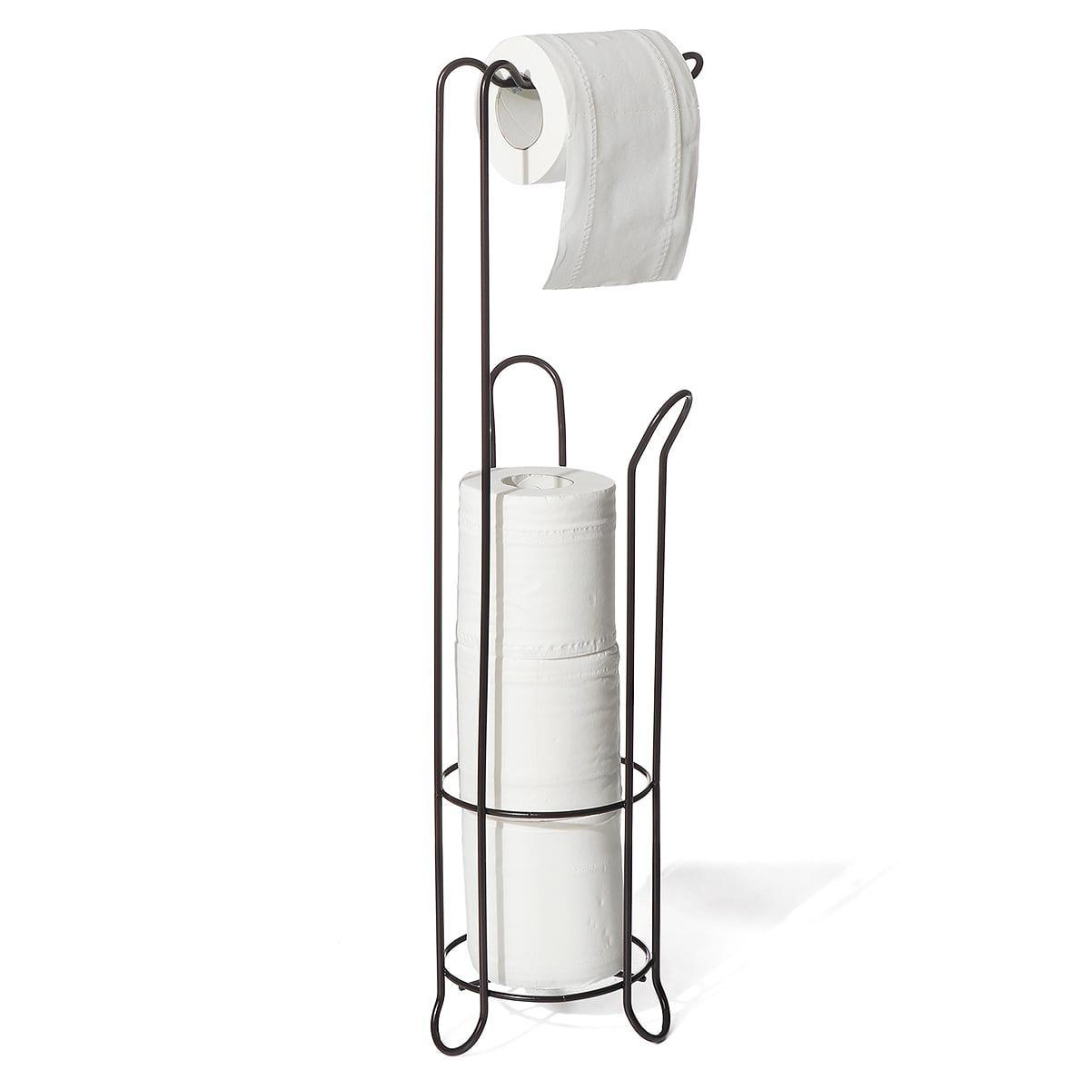 Toilet Paper Holder Stand With Reserve Toilet Paper Storage Toilet Paper Dispenser Free Standing Toilet Paper Holder Bathroom Toilet Roll Holder For Toilet Tissue Chrome Finish Walmart Com Walmart Com