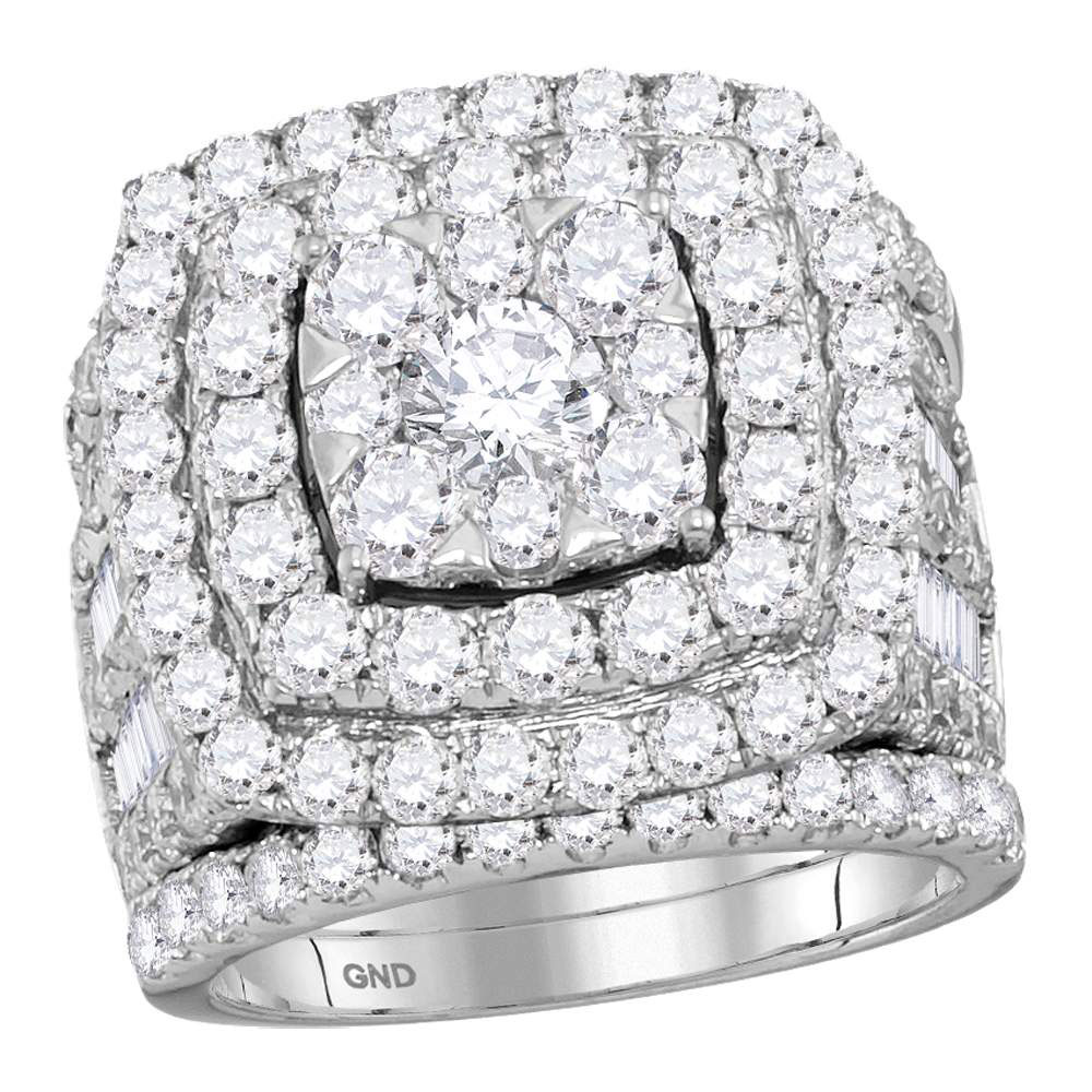 14kt White Gold Womens Round Diamond Bridal Wedding Engagement Ring Band Set 6.00 Cttw by