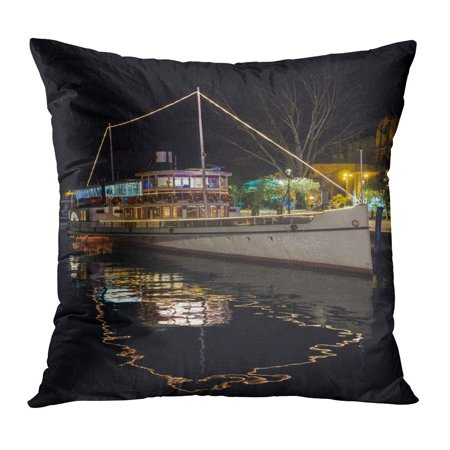 ECCOT Riva Del Garda Italy December 9 Giuseppe Zanardelli is Wheeled Motor Vessel Ex Steamship Sailing Waters Pillowcase Pillow Cover Cushion Case 16x16 inch (Giuseppe Case)