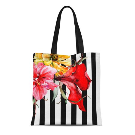 ASHLEIGH Canvas Tote Bag Colorful Housewarming Floral Stripes Flora Black and White Watercolor Reusable Handbag Shoulder Grocery Shopping Bags