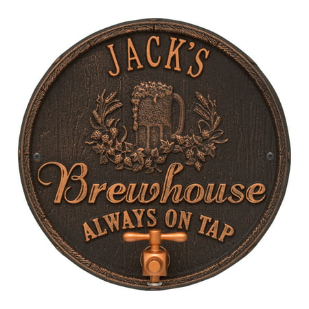 Personalized Whitehall Products Oak Barrel Beer Pub Plaque in Oil Rubbed Bronze ()