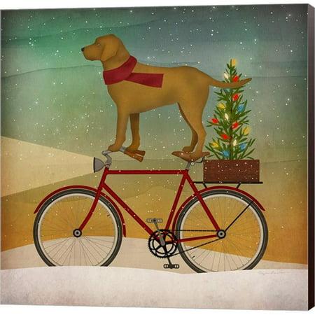Metaverse C959176-0120000-ACDAAMA Yellow Lab on Bike Christmas by Ryan Fowler Canvas Wall Art - 12 x 12 in.