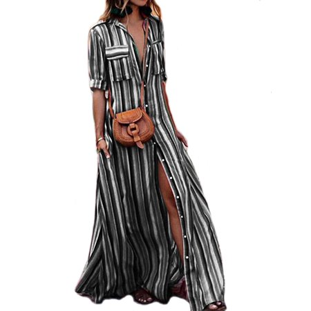 Summer Womens Rainbow Loose Button Down Collar Roll up Sleeve Stripes Bohemia Beach Long Maxi Dresses With Pockets - Striped Maxi Dress