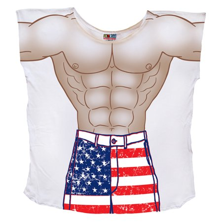 LA Imprints Men's Fun Wear Cover Up Stars and Stripes Muscle Guy Board Shorts Oversized -