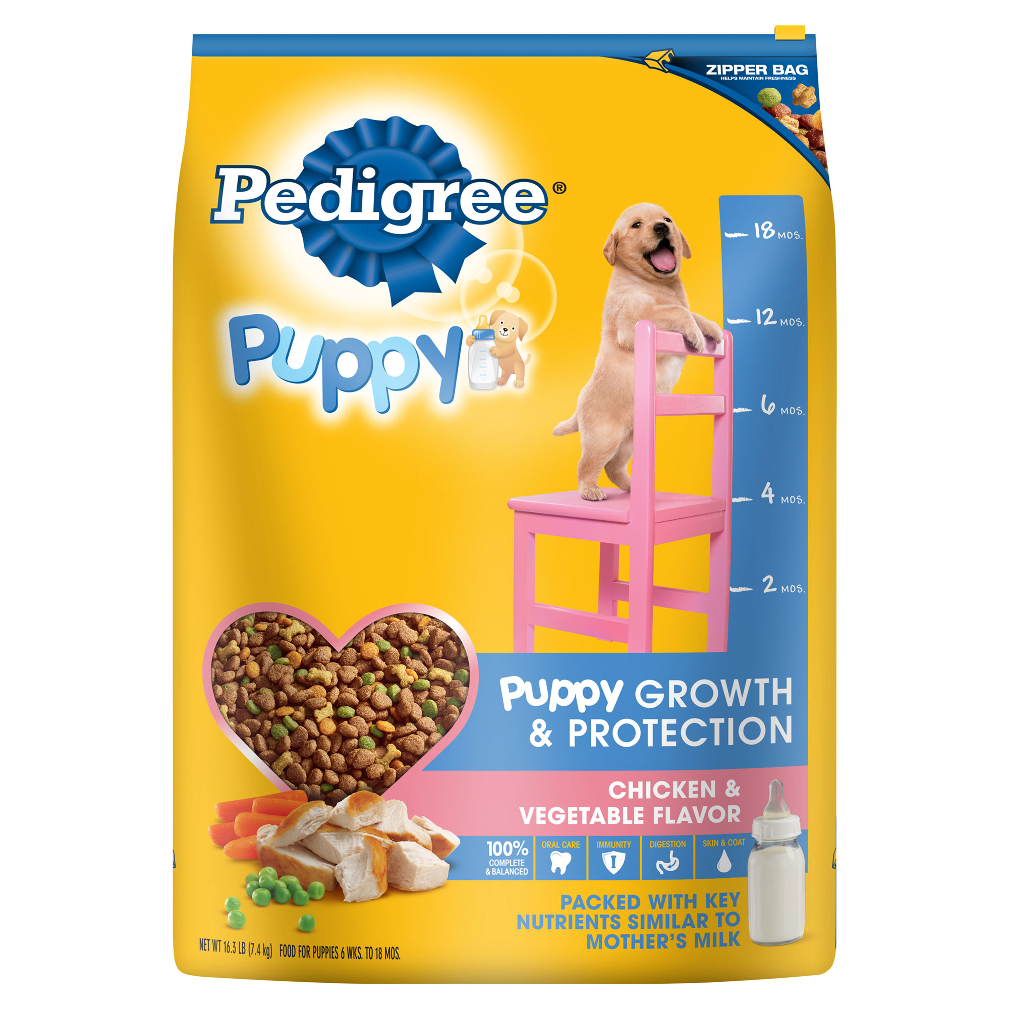 PEDIGREE Puppy Growth and Protection Chicken & Vegetable Flavor Dry Dog Food 16.3 Pounds