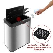13.2 Gal Deodorizer Touchless Stainless Steel Trash Can Automatic Motion Sensor