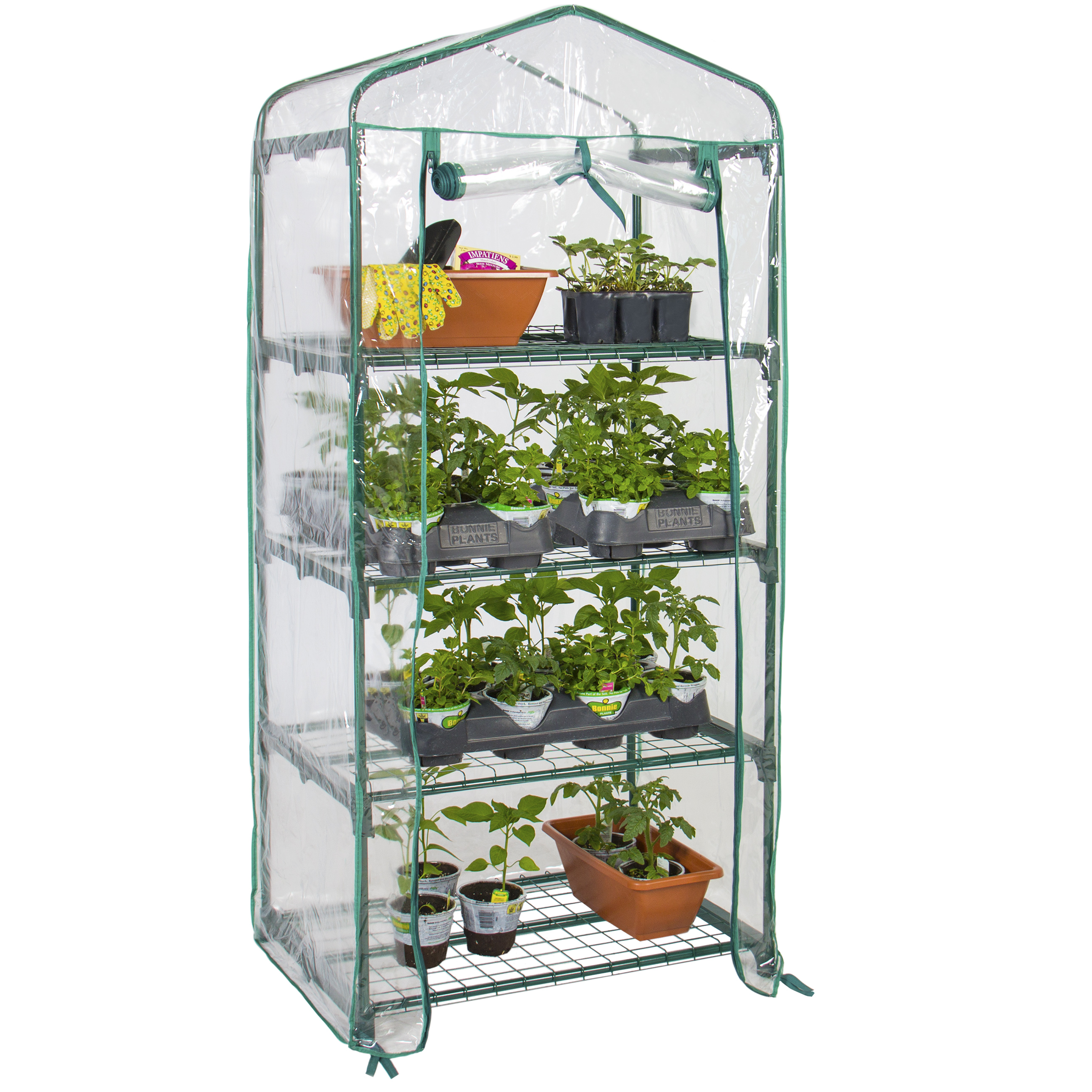 Best Choice Products 4-Tier Mini Greenhouse w/ Cover and Roll-Up Zipper Door - Green