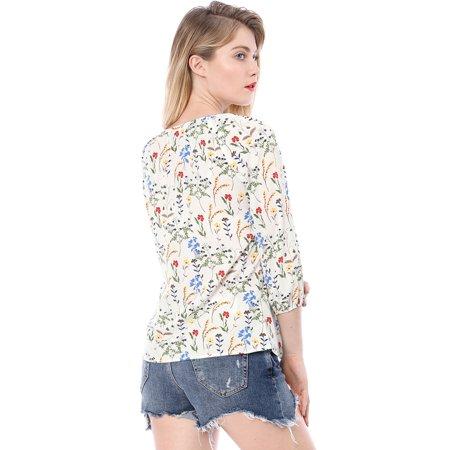 Women Floral 3/4 Raglan Sleeve Round Neck Blouse White S (US 6) - image 4 of 6
