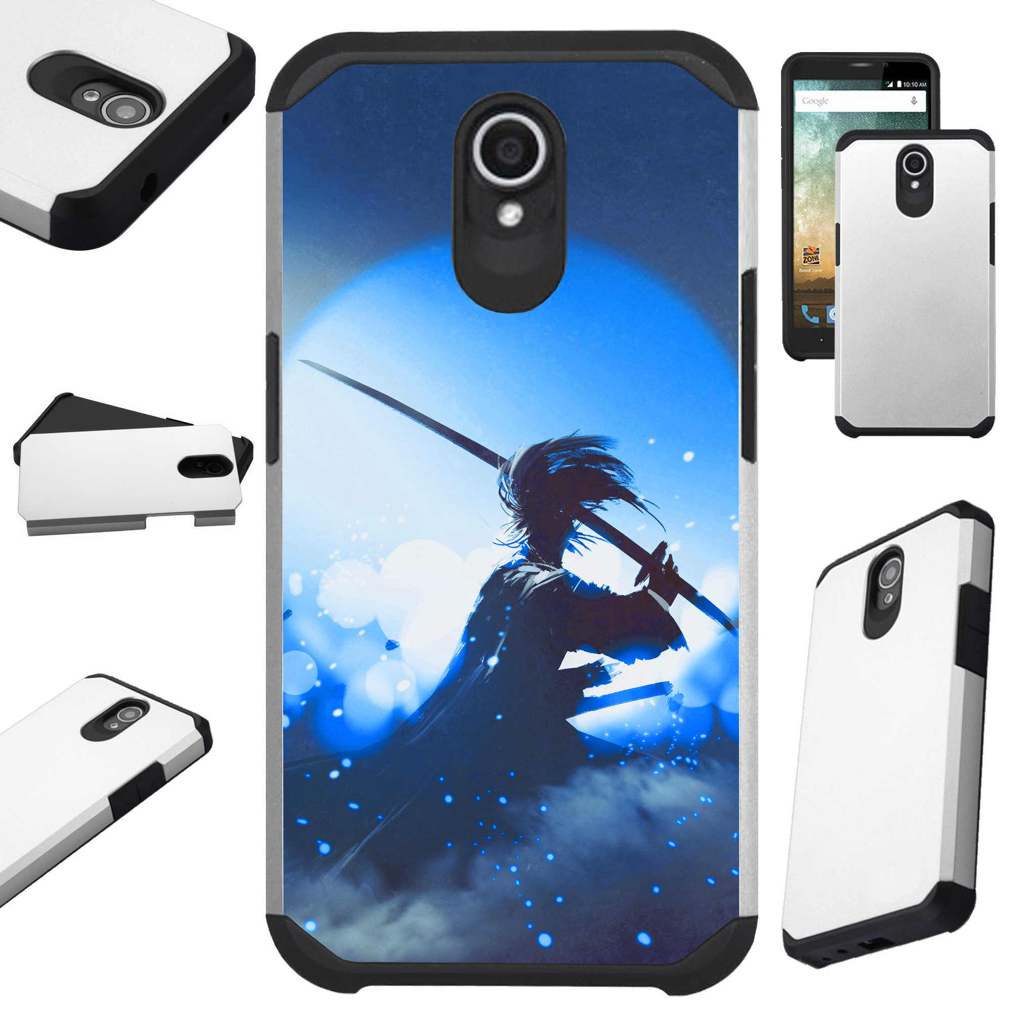 Compatible Alcatel idealXTRA | 1X Evolve (2018) | TCL LX Phone Case Hybrid TPU Fusion Cover (Blue Samurai)