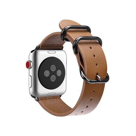 For Apple Watch Band 42mm Genuine Leather Replacement Strap Bands Stainless Buckle Apple Watch Series 3 / 2 / 1 Brown