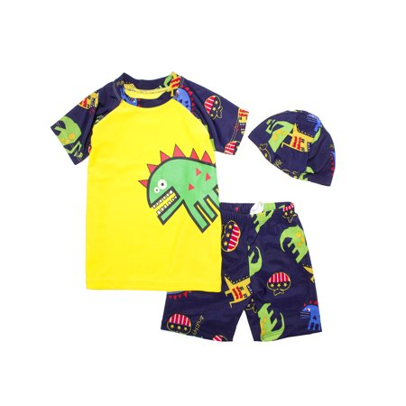Kids Boy Cartoon Dinosaur Shark Rashguard Top & Swim Shorts with Hat 3 pcs Set (Green Dinosaur/Yellow, 3XL/11-13 Years)
