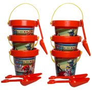 Set Of 6 Kids Pails & Shovels Beach Sand Box Digger Toys For Boys Girls Toddlers