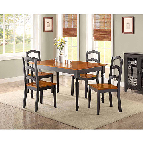 Better Homes and Gardens Autumn Lane 5-piece Dining Set, Black and Oak