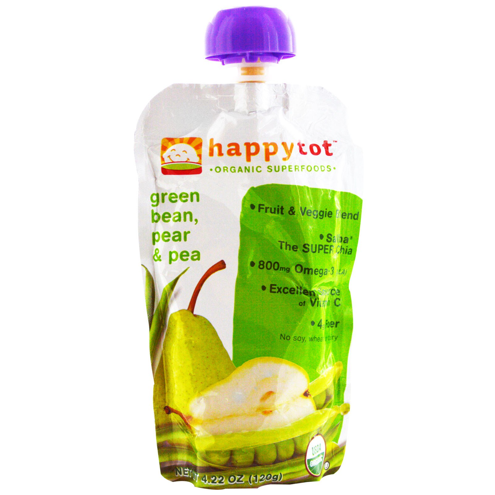 Nurture Inc. (Happy Baby), happytot, Organic Superfoods, Green Bean, Pear and Pea, 4.22 oz (pack of 2)