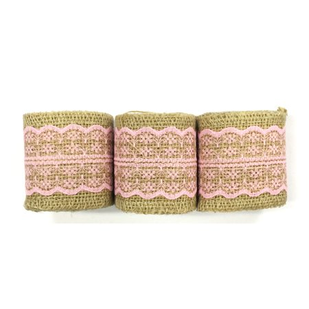 Wrapables® Hessian Burlap with Lace Ribbon 2.5 Inch Width x 2 Yards Length (Set of 3), Pink - Pink Ribbon Fundraising Ideas