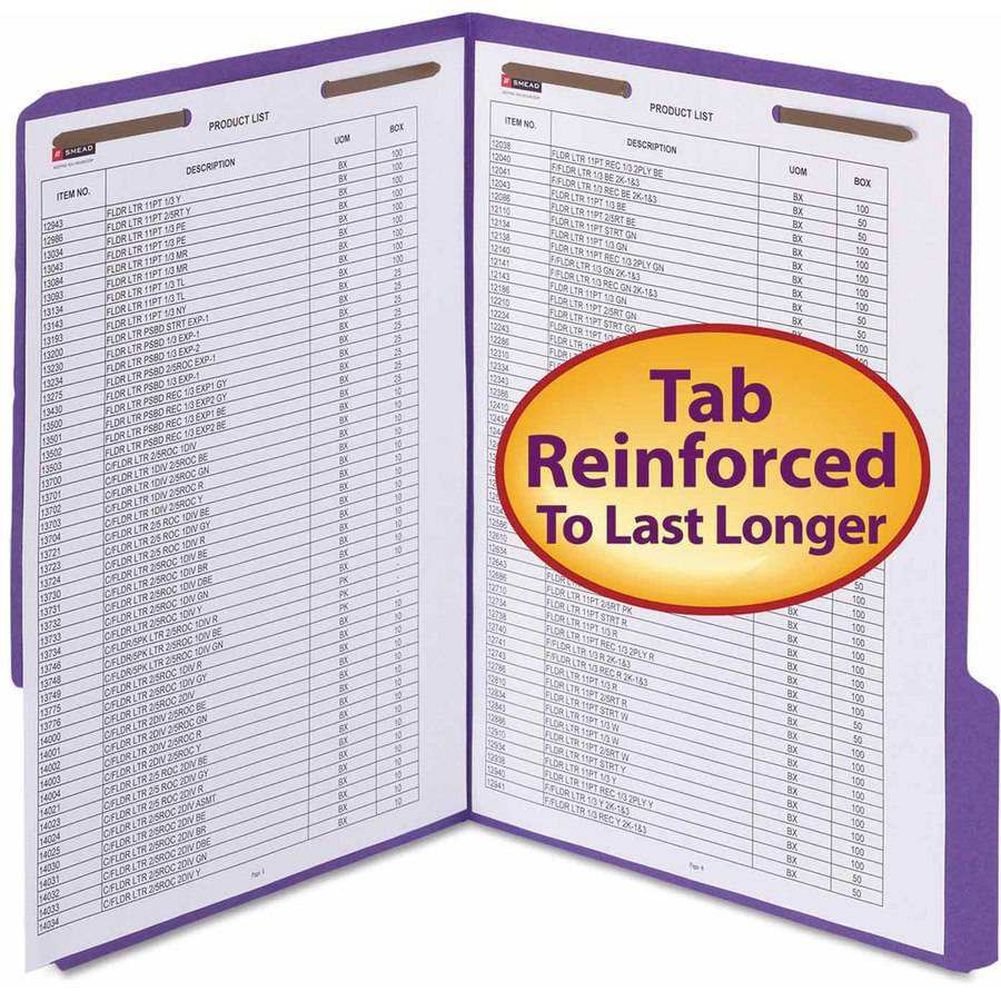 "Smead WaterShed/CutLess Folder, Top Tab, 2 Fasteners, 3/4"" Expansion, Letter, Purple, 50/BX"