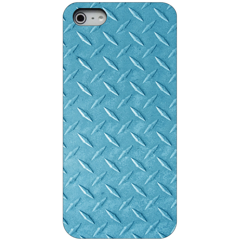CUSTOM Black Hard Plastic Snap-On Case for Apple iPhone 5 / 5S / SE - Blue Diamond Plate Steel