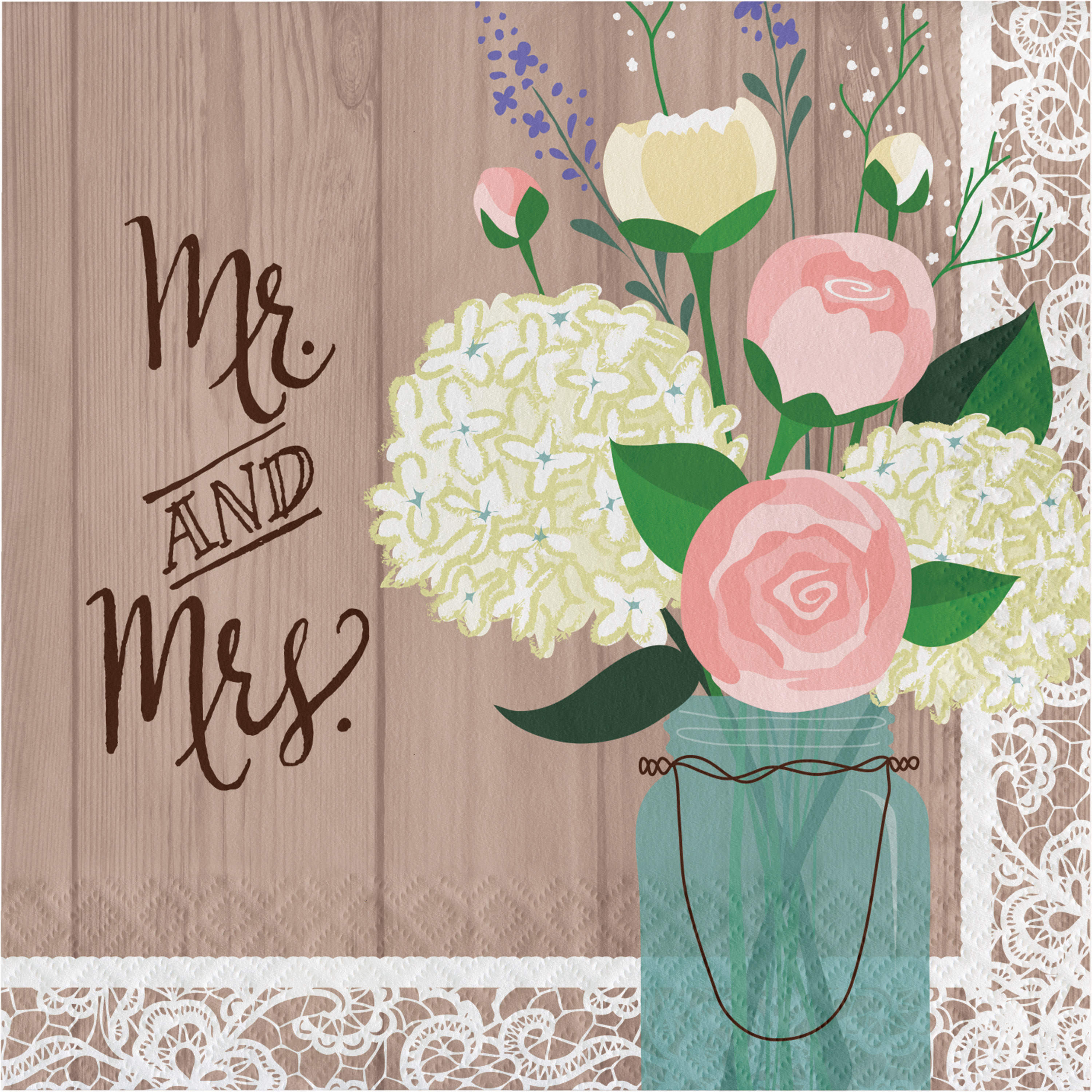 "Rustic Wedding ""Mr. and Mrs."" Napkins, 16 pack"