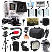 GoPro HERO4 Hero 4 Silver Edition 4K Action Camera with 64GB MicroSD, 3x Batteries, Charger, Card Reader, Large Case, Action Handle, Tripod, Car Mount, LED Light, Helmet Strap, Dust Cleaning Kit