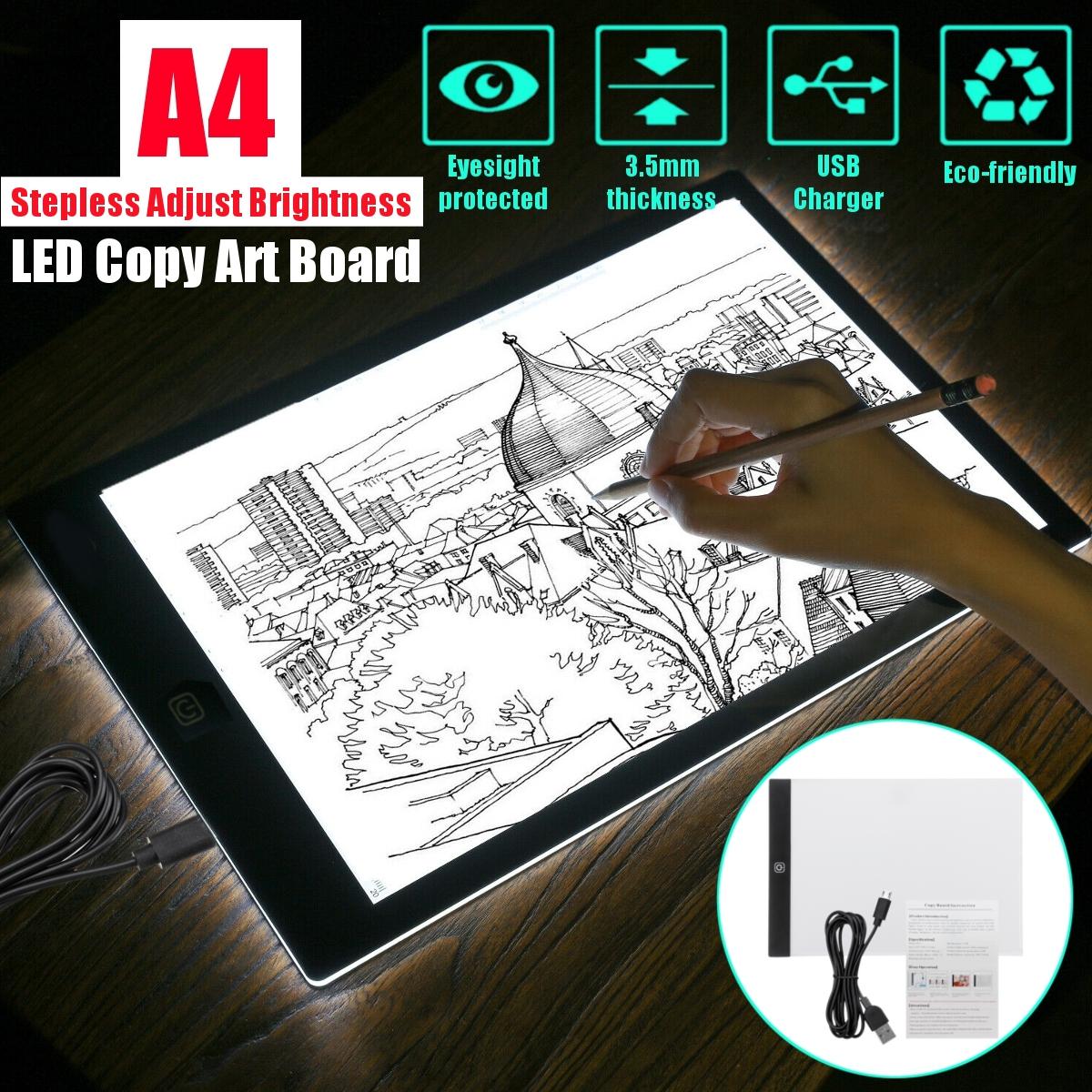 A4 LED Light Art Drawing Copy Tracing Tattoo Box Board Pad 3.5mm Slim USB DC