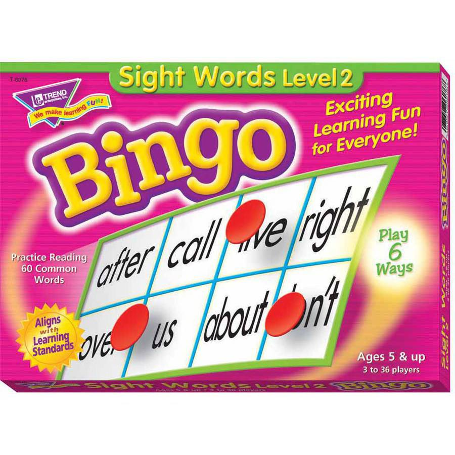 Trend Bingo Game, Sight Words, Level 2