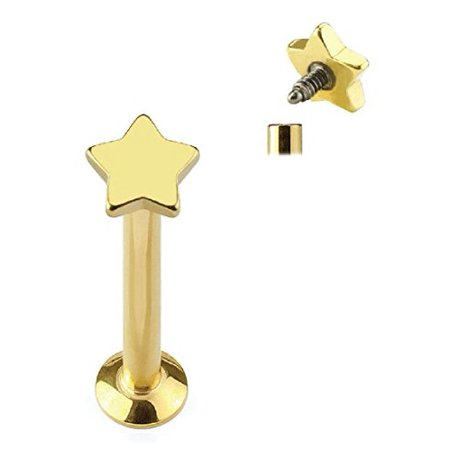 Star Cartilage Earring Stud - BodyJ4You® Tragus Earring Cartilage Star Stud Goldtone Steel Barbell 8mm 16G 1.2mm Piercing Jewelry