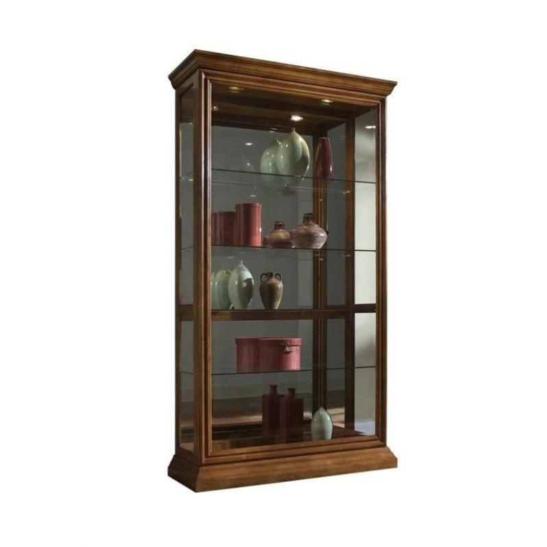 Pulaski 2 Way Sliding Door Curio Cabinet in Golden Oak