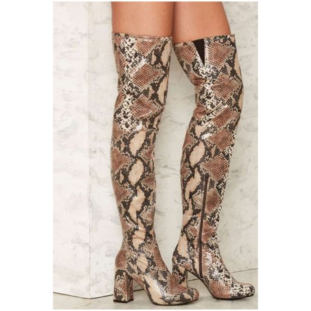 Shellys London Kay Snake Python Embossed Leather Thigh High Chunky Heel Boots -