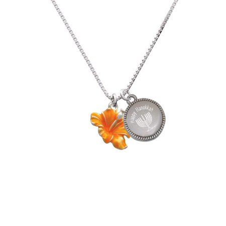 Silvertone Hot Orange Hibiscus Flower - Happy Hanukkah Menorah Necklace