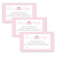 Pink Elephant Baby Shower Diaper Raffle Game Card Set of 25