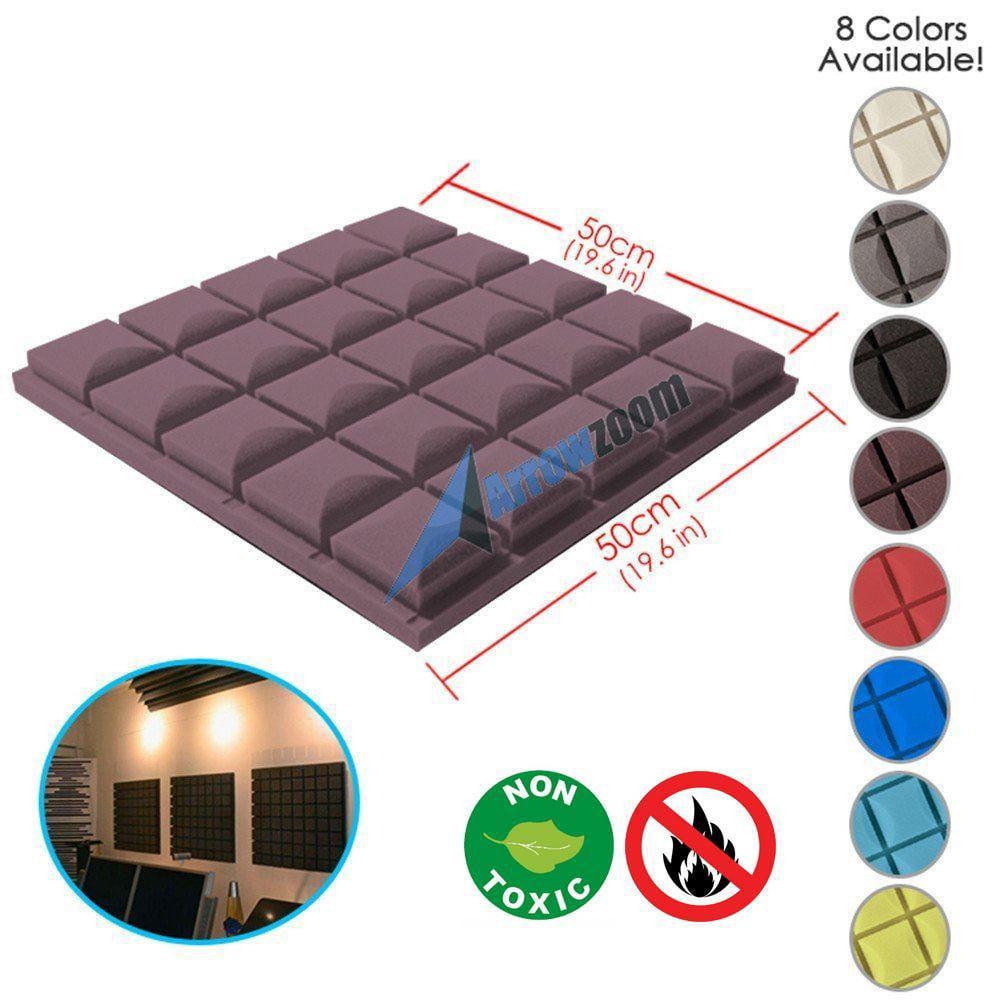 "Arrowzoom New 19.6"" x 19.6"" x 1.9"" Hemisphere Grid Tile Acoustic Studio Sound Absorption Black Foam"