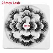7 Pairs Beauty Makeup Natural Long Thick Cross Handmade Eye Lashes Extension 25mm Lash False Eyelashes 6D Mink Hair (6D01)