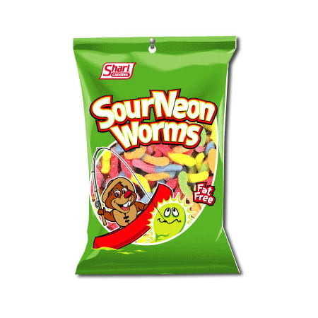 Jello Worms For Halloween (Shari Sour Neon Worms, 5 Oz, 12)
