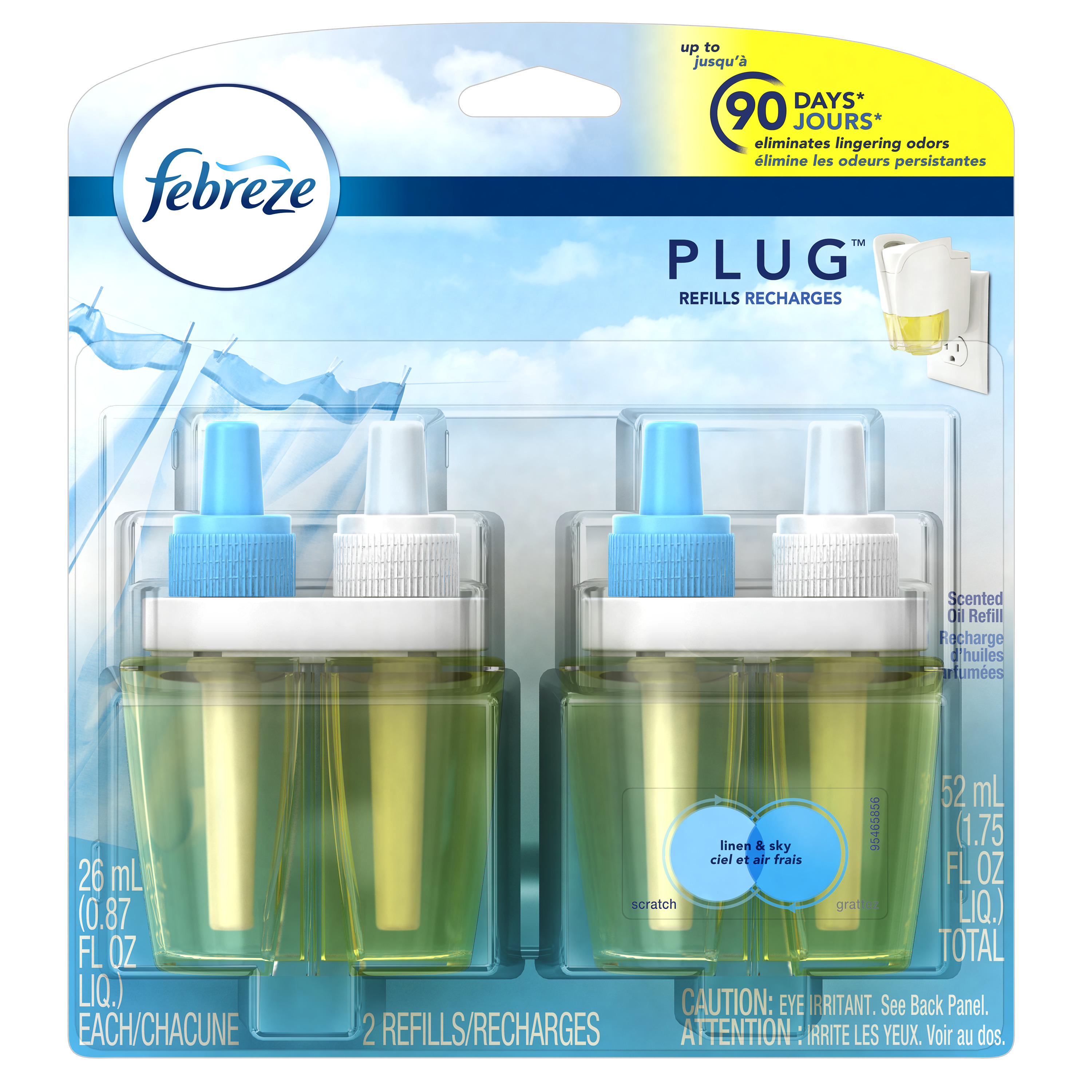 Febreze Plug In Scented Oil Air Freshener Refills, Linen and Sky, 2 x 0.87 Fl Oz