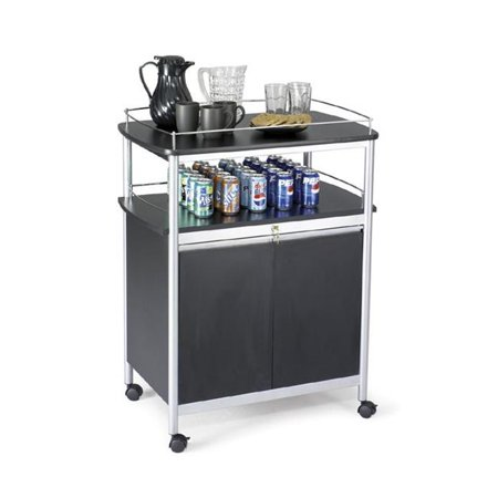 "Image of ""8964BL Safco Mobile Beverage Cart - 4 Casters - Melamine, Steel - 33.5"""" Width x 21.8"""" Depth x Frame Color Gray - Frame Material Steel - Chrome"""